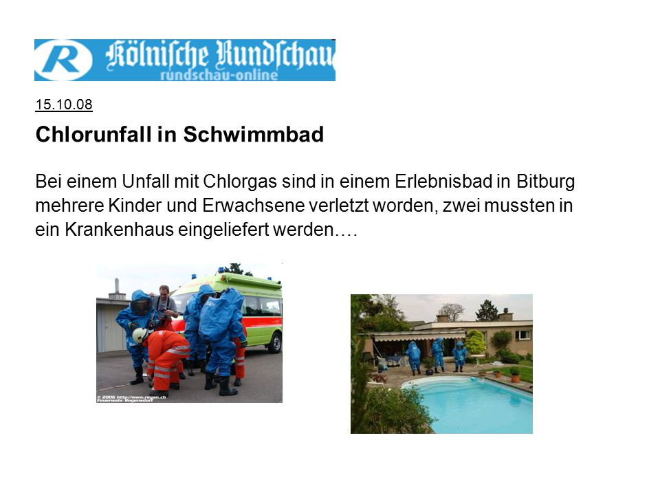 Chlorunfall in Schwimmbad