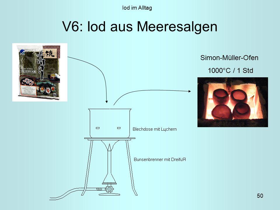 Iod im Alltag V6: Iod aus Meeresalgen Simon-Müller-Ofen 1000°C / 1 Std