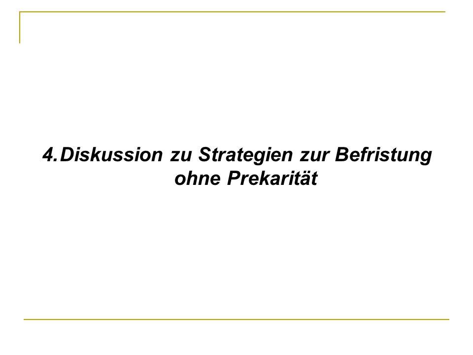 4. Diskussion zu Strategien zur Befristung ohne Prekarität