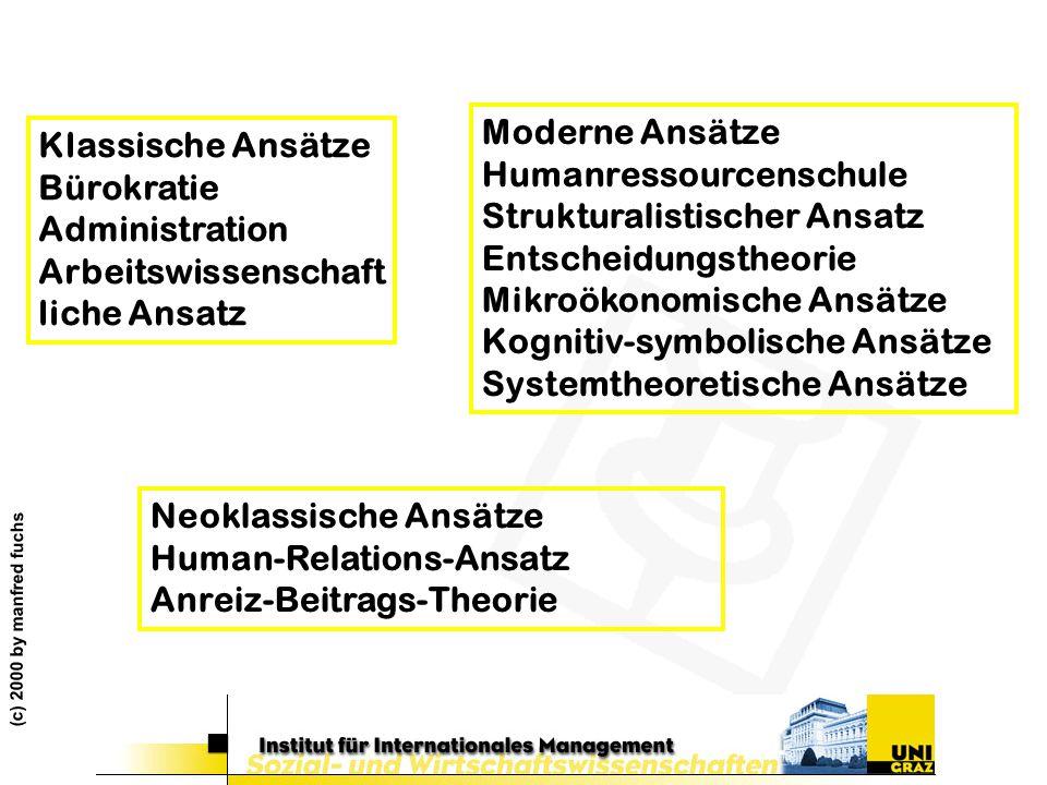 Humanressourcenschule Strukturalistischer Ansatz Entscheidungstheorie