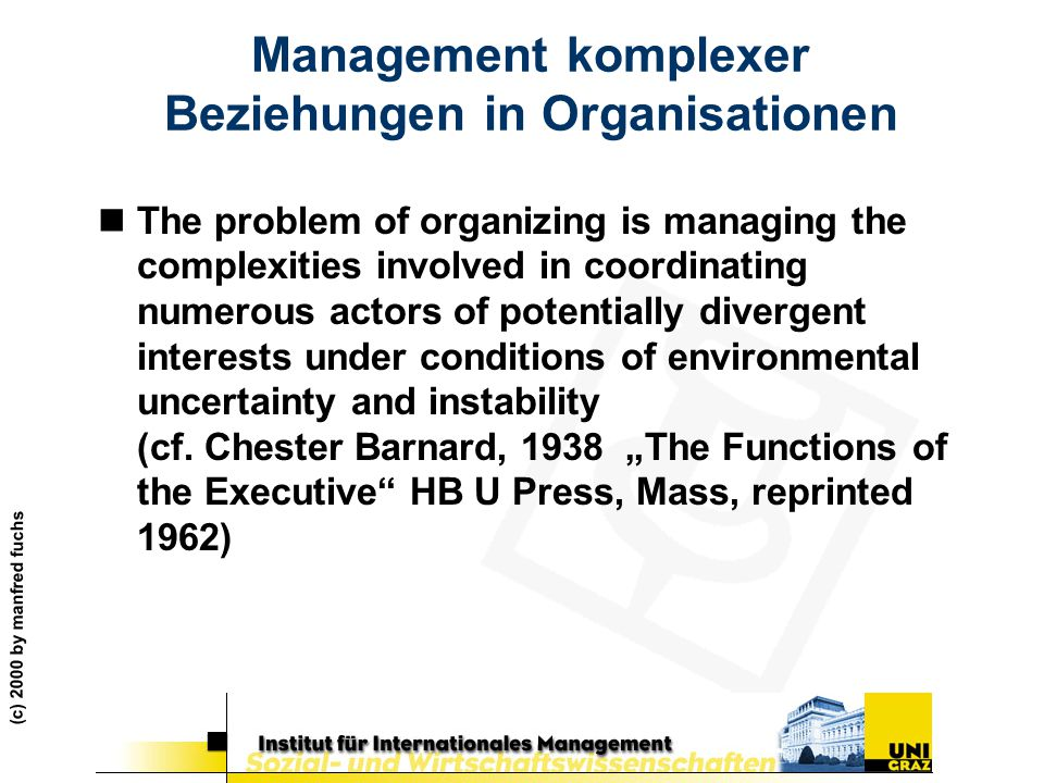 Management komplexer Beziehungen in Organisationen