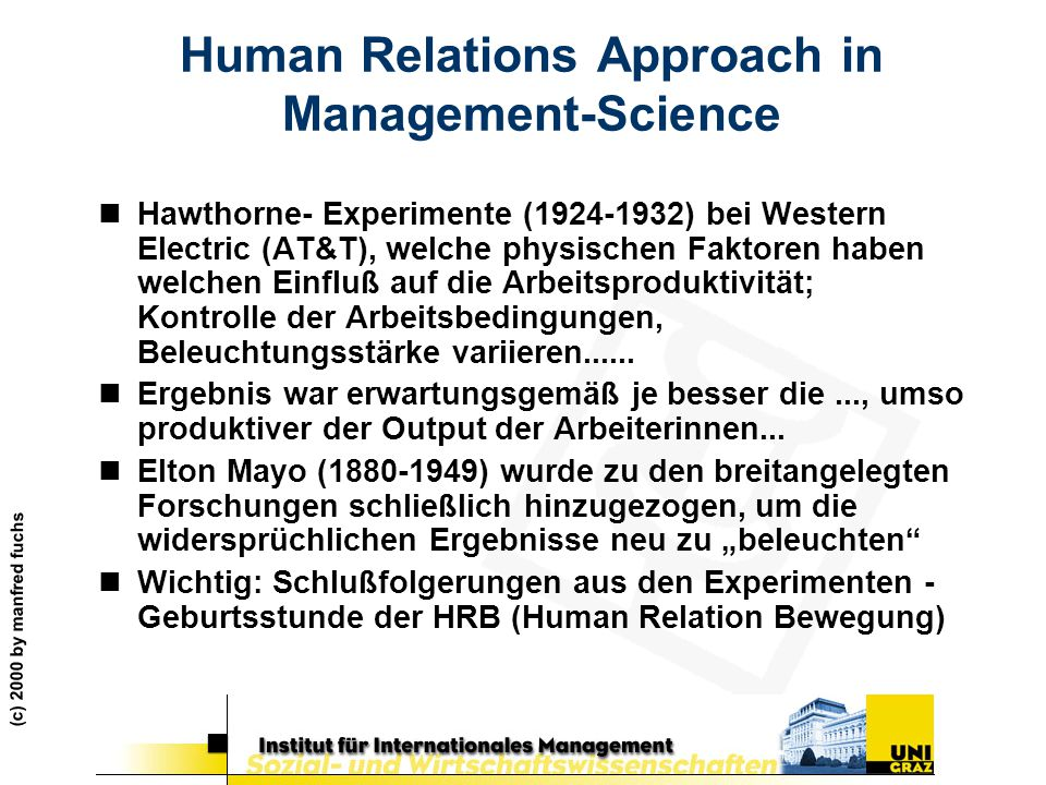 Human Relations Approach in Management-Science