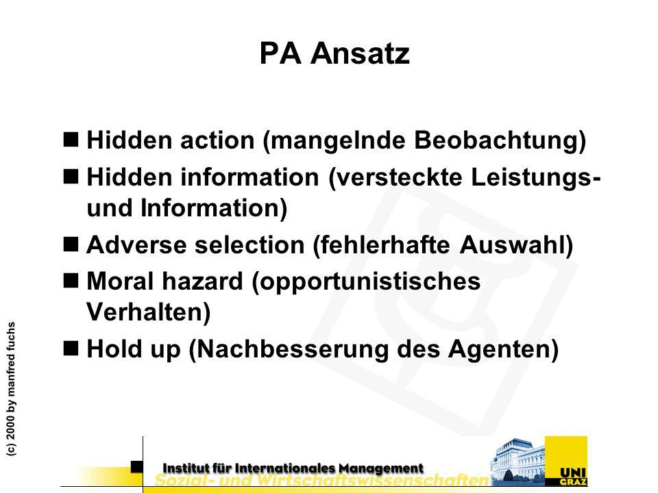 PA Ansatz Hidden action (mangelnde Beobachtung)