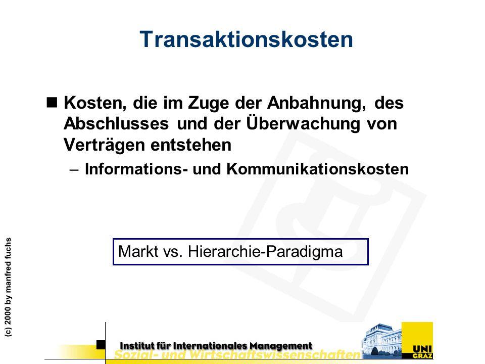 Transaktionskosten Kosten, die im Zuge der Anbahnung, des Abschlusses und der Überwachung von Verträgen entstehen.