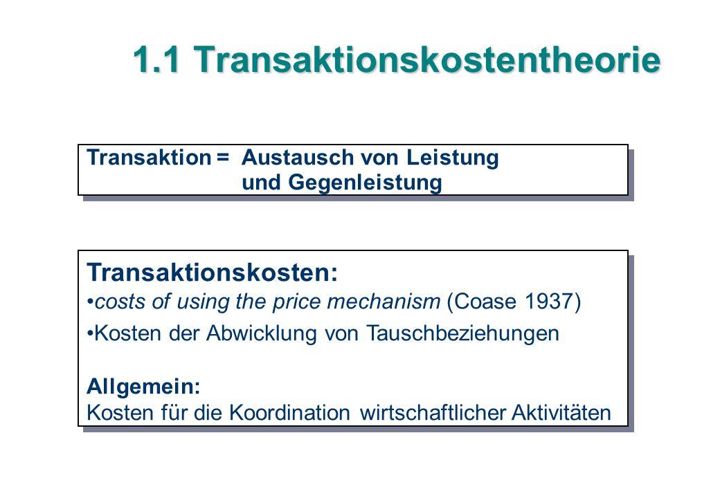 1.1 Transaktionskostentheorie