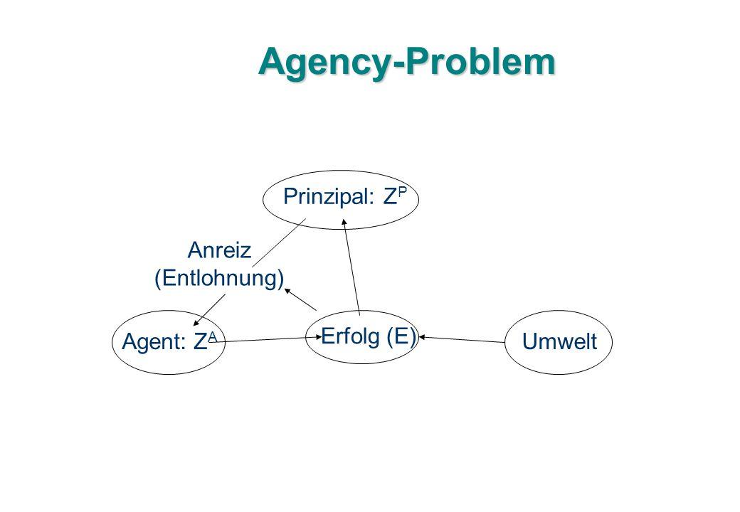 Agency-Problem Prinzipal: ZP Anreiz (Entlohnung) Erfolg (E) Agent: ZA