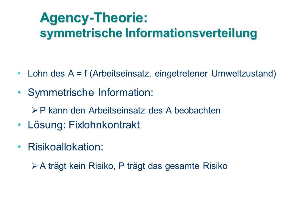 Agency-Theorie: symmetrische Informationsverteilung