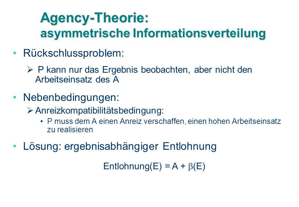 Agency-Theorie: asymmetrische Informationsverteilung