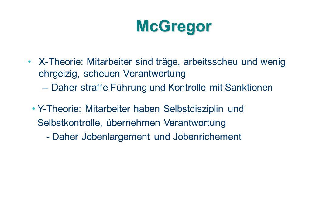 McGregor X-Theorie: Mitarbeiter sind träge, arbeitsscheu und wenig ehrgeizig, scheuen Verantwortung.