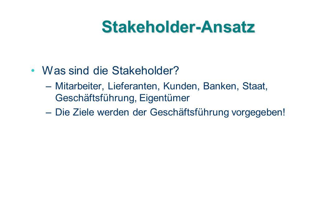 Stakeholder-Ansatz Was sind die Stakeholder
