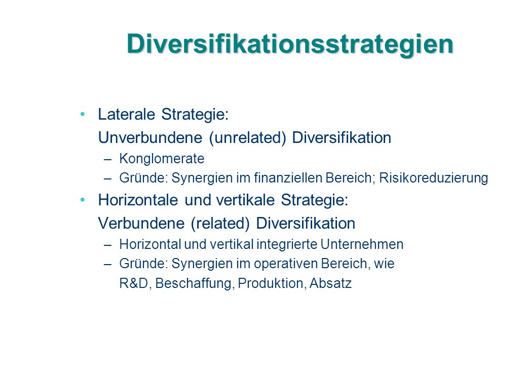 Diversifikationsstrategien