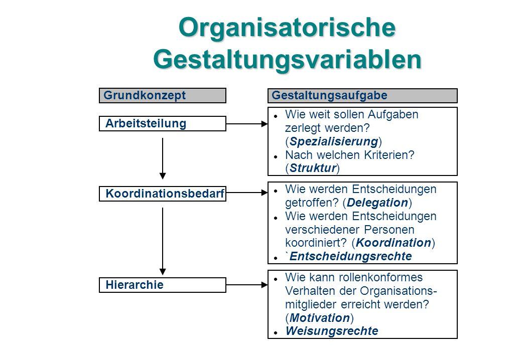 Organisatorische Gestaltungsvariablen