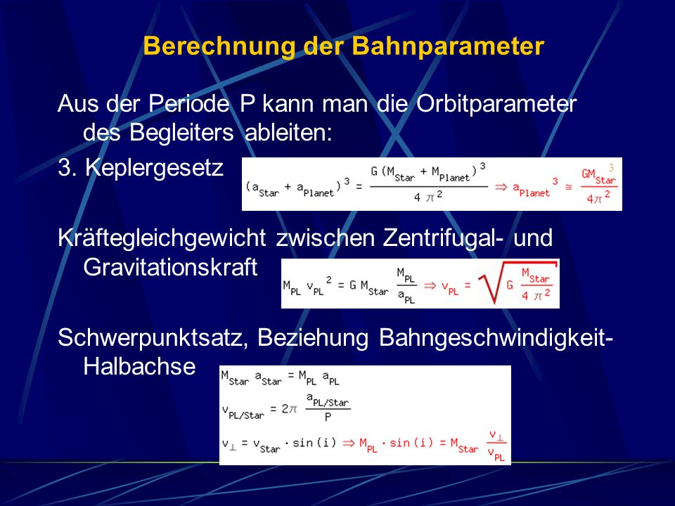 Berechnung der Bahnparameter