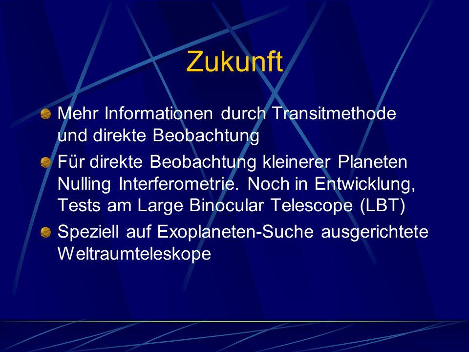 Zukunft Mehr Informationen durch Transitmethode und direkte Beobachtung.