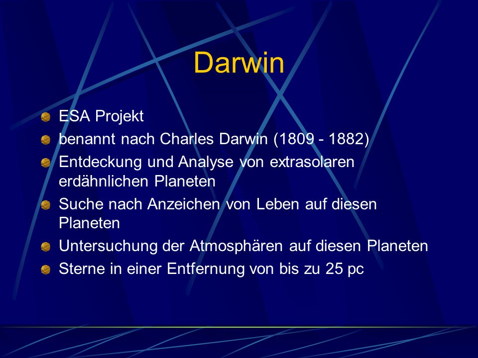 Darwin ESA Projekt benannt nach Charles Darwin (1809 - 1882)