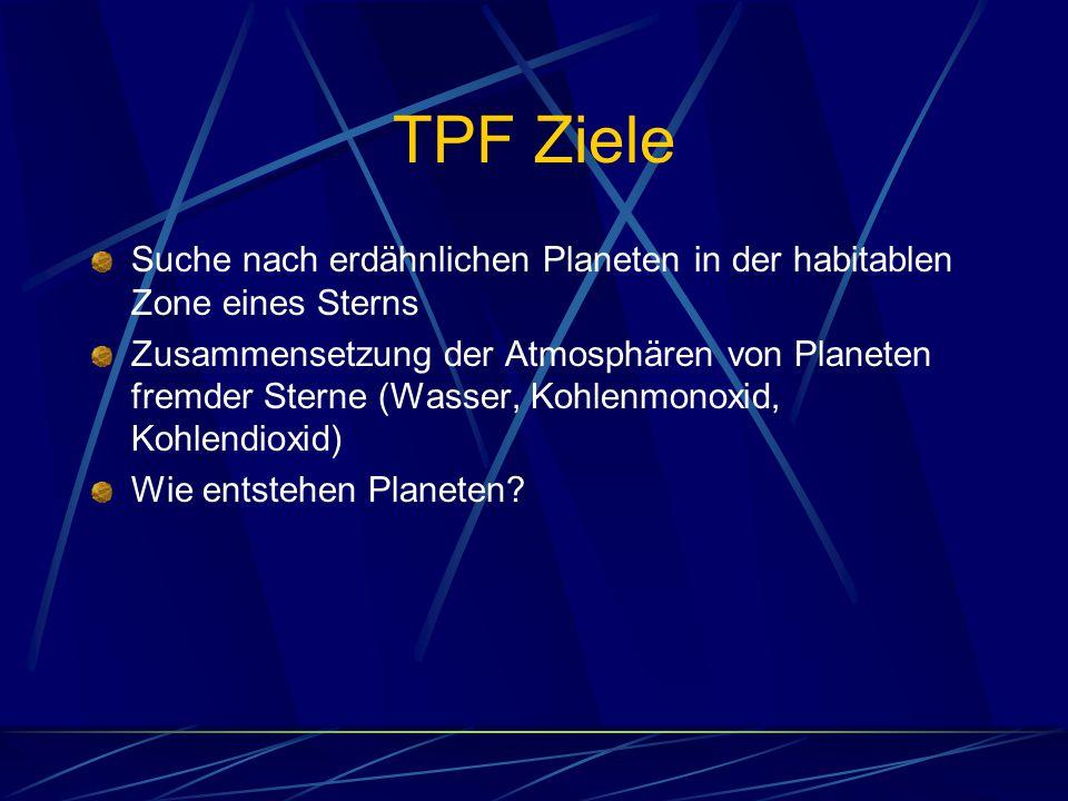 TPF Ziele Suche nach erdähnlichen Planeten in der habitablen Zone eines Sterns.