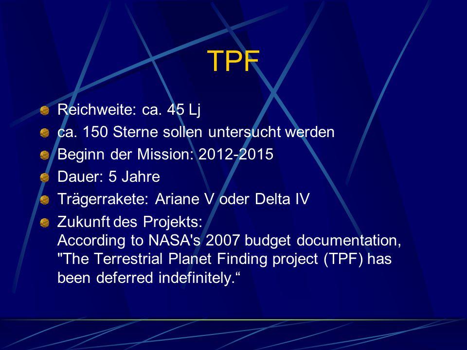 TPF Reichweite: ca. 45 Lj ca. 150 Sterne sollen untersucht werden