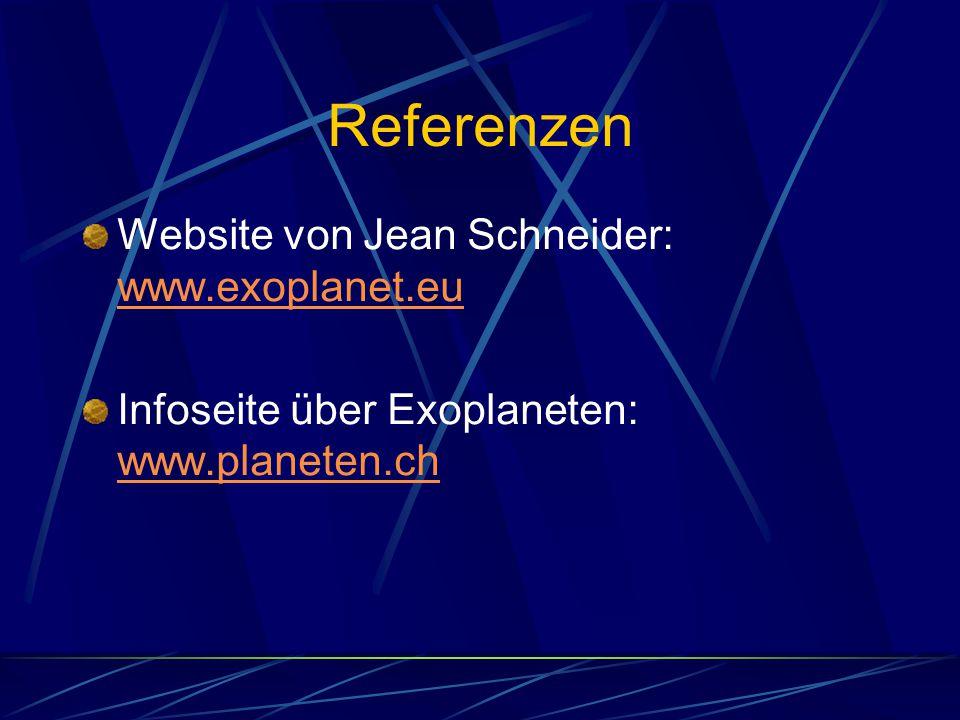 Referenzen Website von Jean Schneider: www.exoplanet.eu
