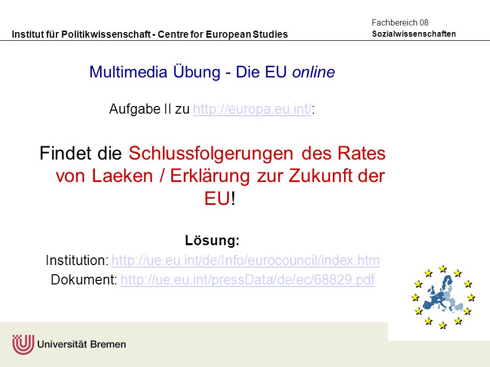 Multimedia Übung - Die EU online