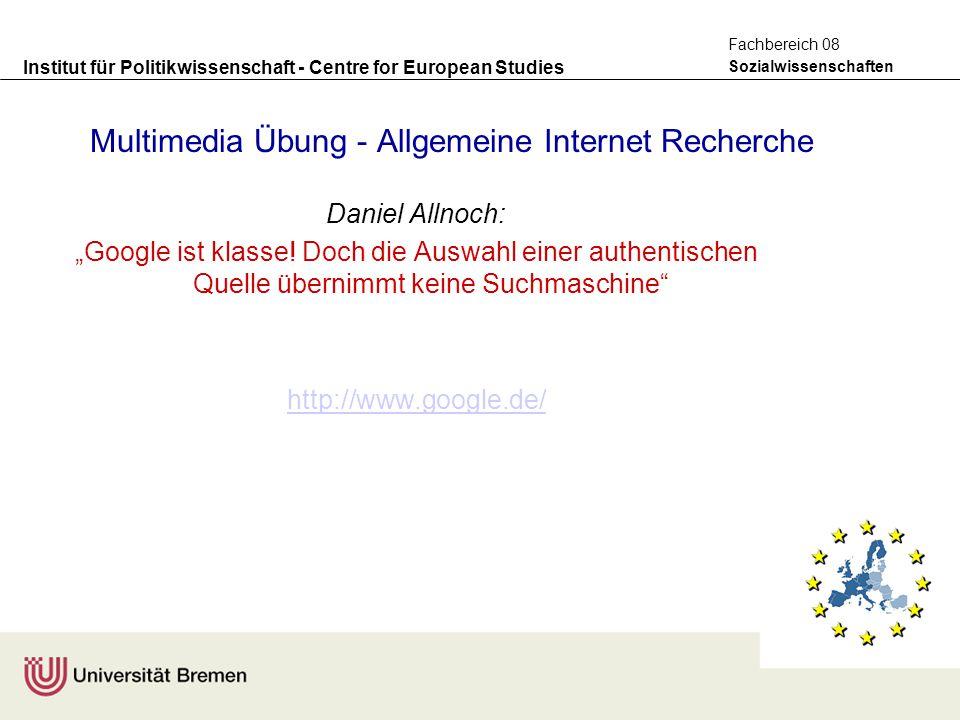Multimedia Übung - Allgemeine Internet Recherche
