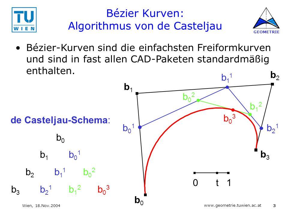 Bézier Kurven: Algorithmus von de Casteljau