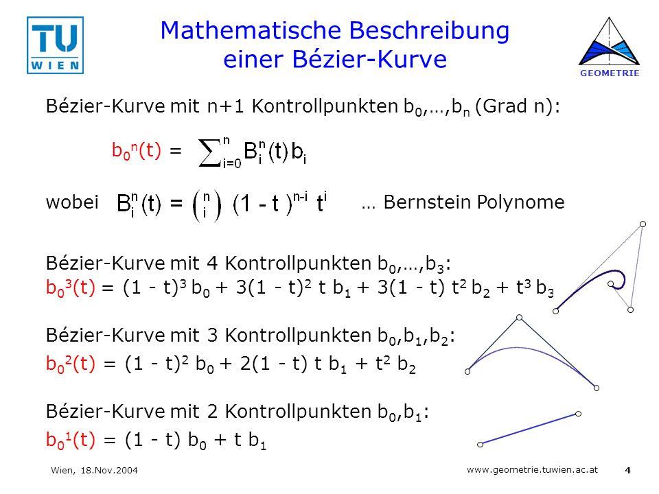 Mathematische Beschreibung einer Bézier-Kurve