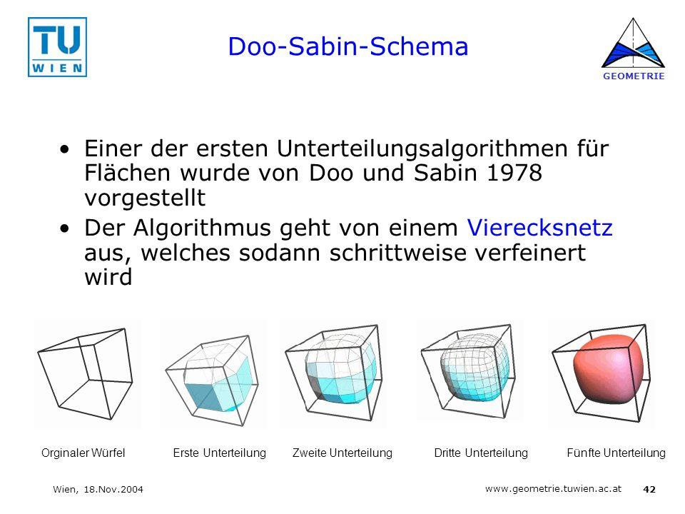 Doo-Sabin-Schema Einer der ersten Unterteilungsalgorithmen für Flächen wurde von Doo und Sabin 1978 vorgestellt.
