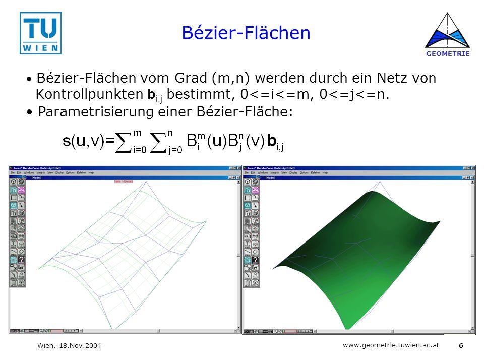Bézier-Flächen Parametrisierung einer Bézier-Fläche: