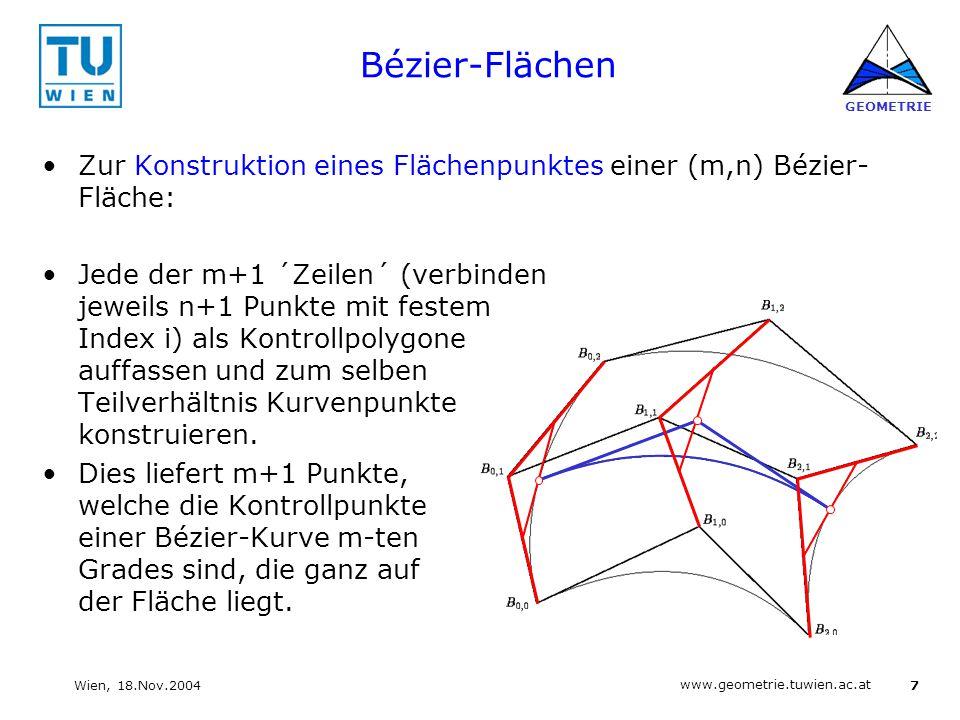 Bézier-Flächen Zur Konstruktion eines Flächenpunktes einer (m,n) Bézier-Fläche: