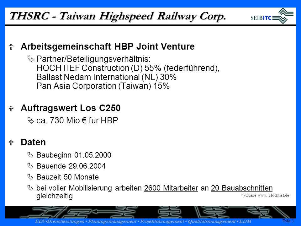 THSRC - Taiwan Highspeed Railway Corp.