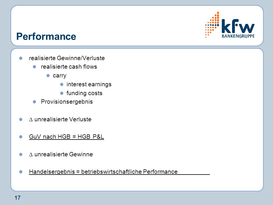 Performance realisierte Gewinne/Verluste realisierte cash flows carry