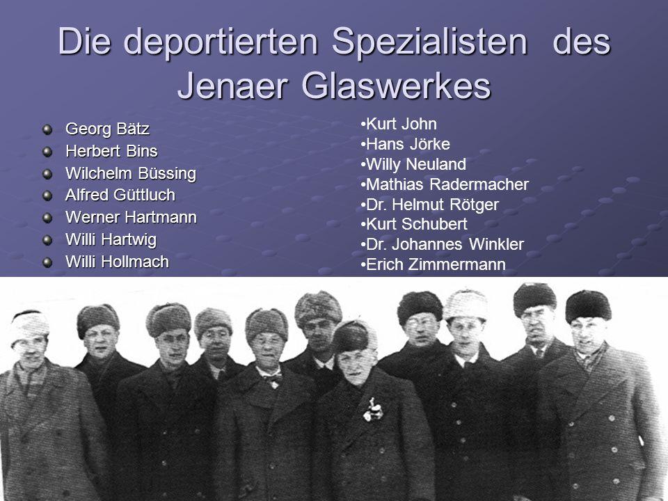 Die deportierten Spezialisten des Jenaer Glaswerkes