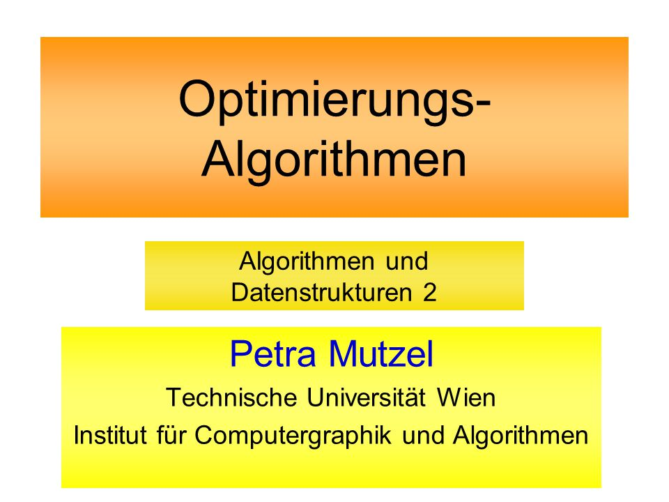 Optimierungs- Algorithmen