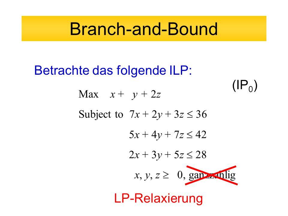 Branch-and-Bound Betrachte das folgende ILP: (IP0) LP-Relaxierung