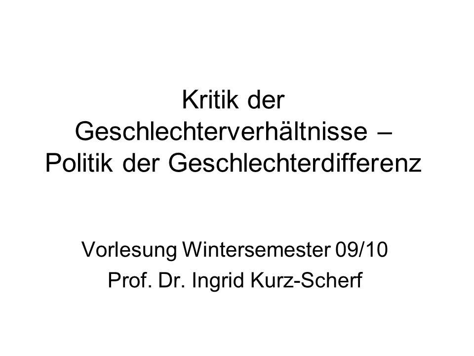 Vorlesung Wintersemester 09/10 Prof. Dr. Ingrid Kurz-Scherf