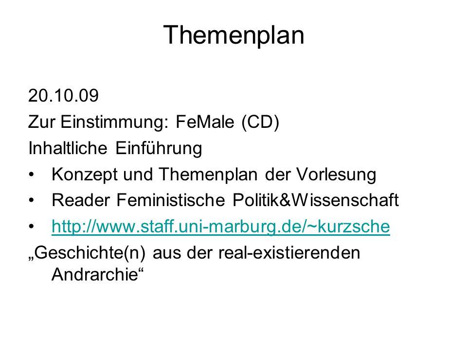 Themenplan 20.10.09 Zur Einstimmung: FeMale (CD)