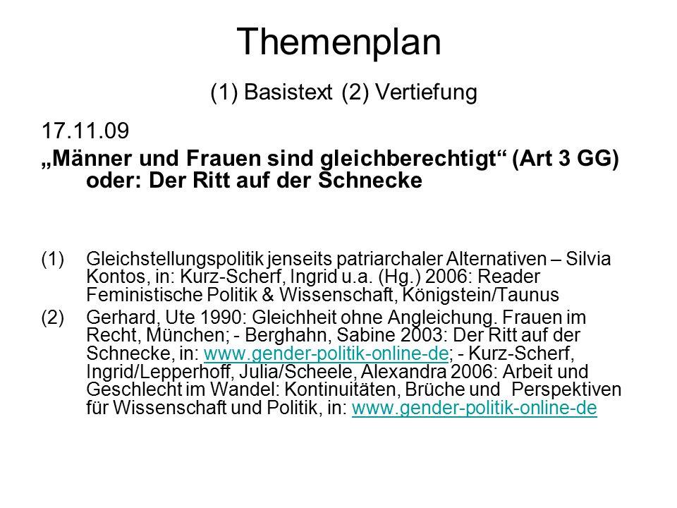 Themenplan (1) Basistext (2) Vertiefung
