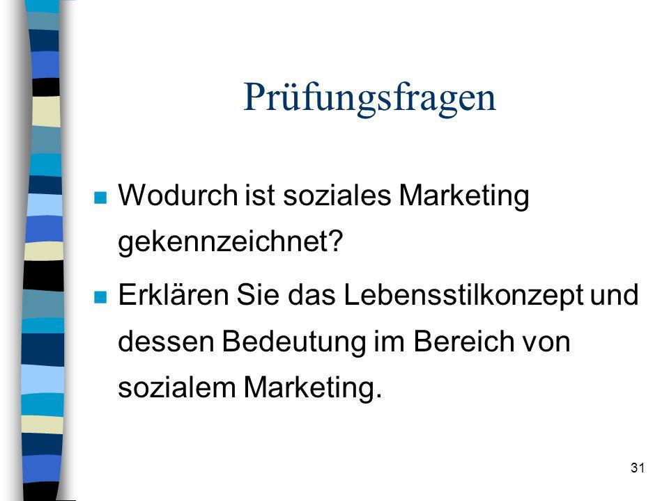 Prüfungsfragen Wodurch ist soziales Marketing gekennzeichnet
