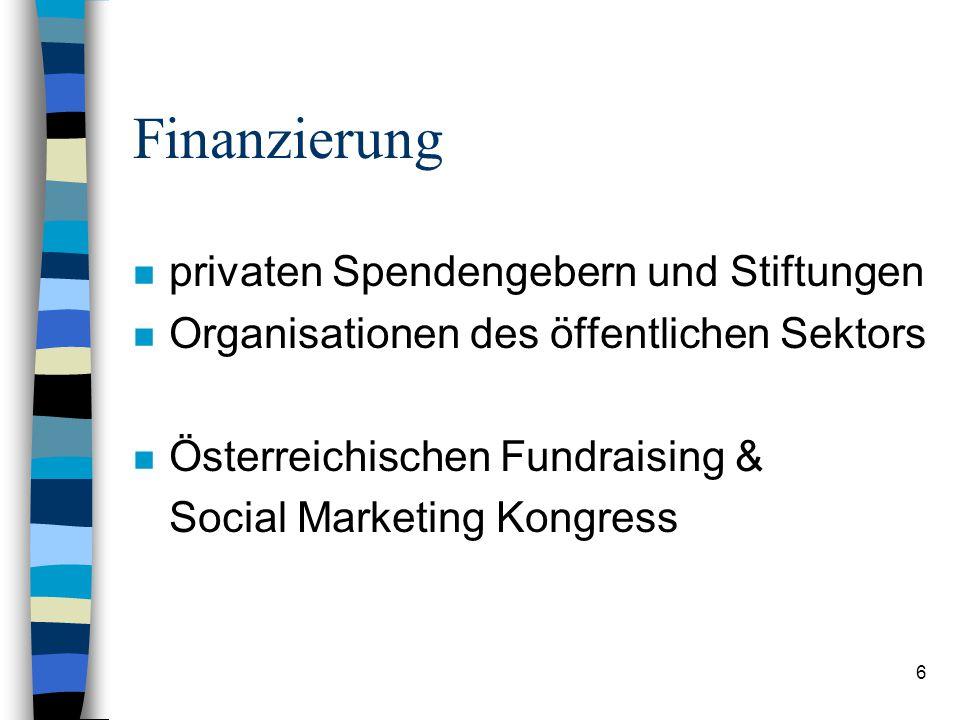 Finanzierung privaten Spendengebern und Stiftungen