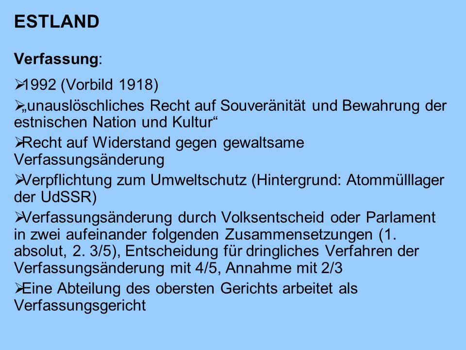 ESTLAND Verfassung: 1992 (Vorbild 1918)