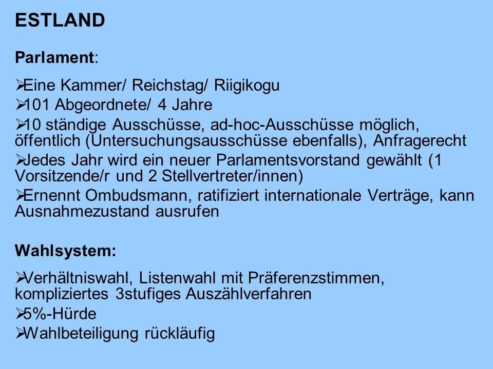 ESTLAND Parlament: Eine Kammer/ Reichstag/ Riigikogu
