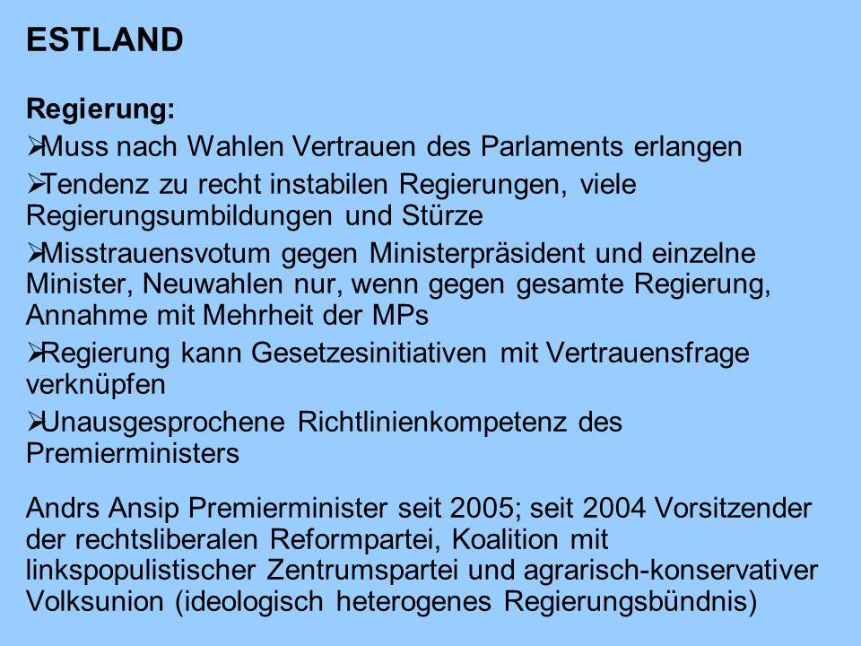 ESTLAND Regierung: Muss nach Wahlen Vertrauen des Parlaments erlangen