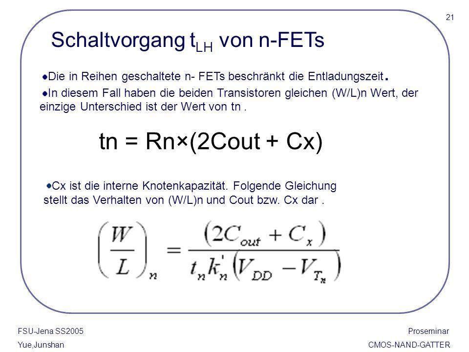 tn = Rn×(2Cout + Cx) Schaltvorgang tLH von n-FETs