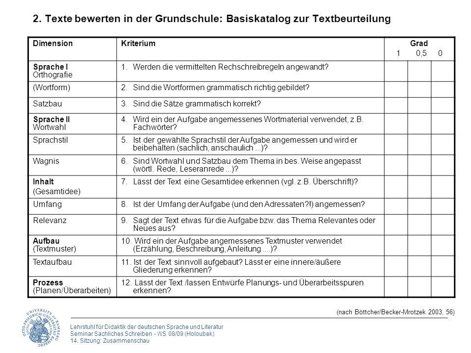 2. Texte bewerten in der Grundschule: Basiskatalog zur Textbeurteilung