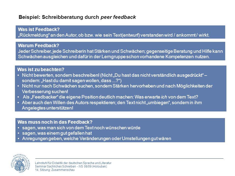 Beispiel: Schreibberatung durch peer feedback