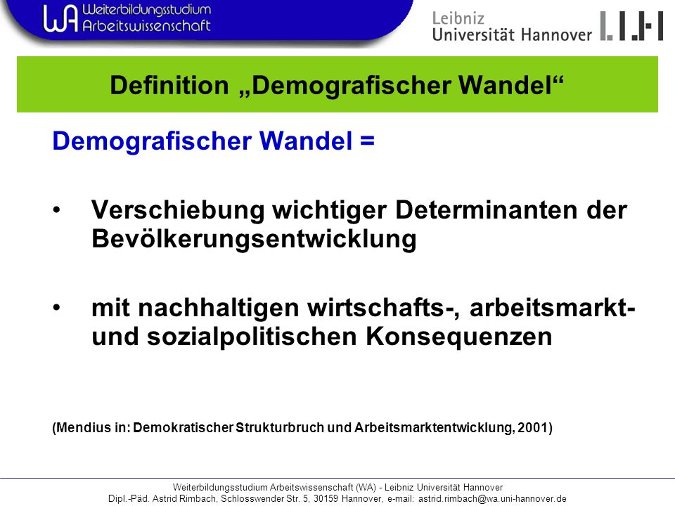"Definition ""Demografischer Wandel"