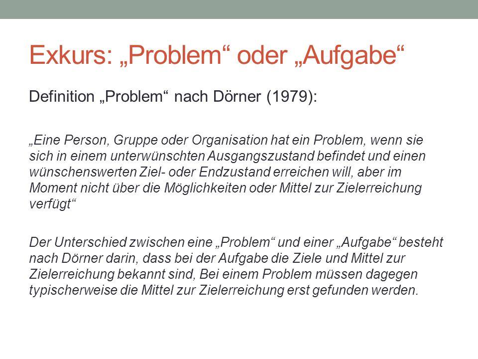 """Exkurs: """"Problem oder """"Aufgabe"""