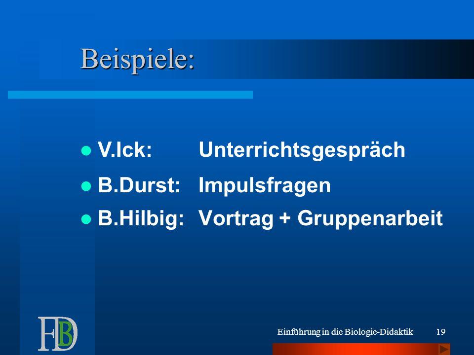 Beispiele: V.Ick: Unterrichtsgespräch B.Durst: Impulsfragen