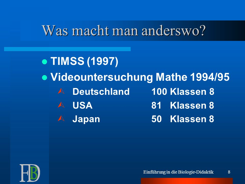 Was macht man anderswo TIMSS (1997) Videountersuchung Mathe 1994/95