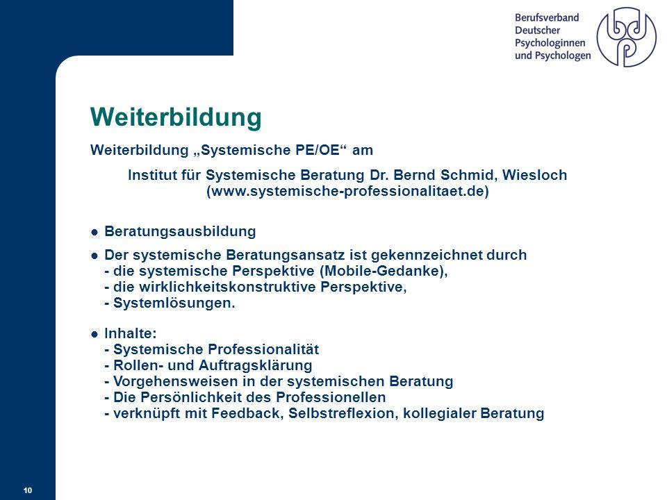 """Weiterbildung Weiterbildung """"Systemische PE/OE am"""